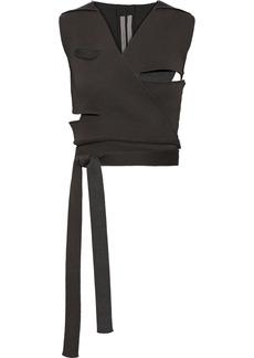 Rick Owens Woman Cutout Cotton-blend Wrap Vest Gray