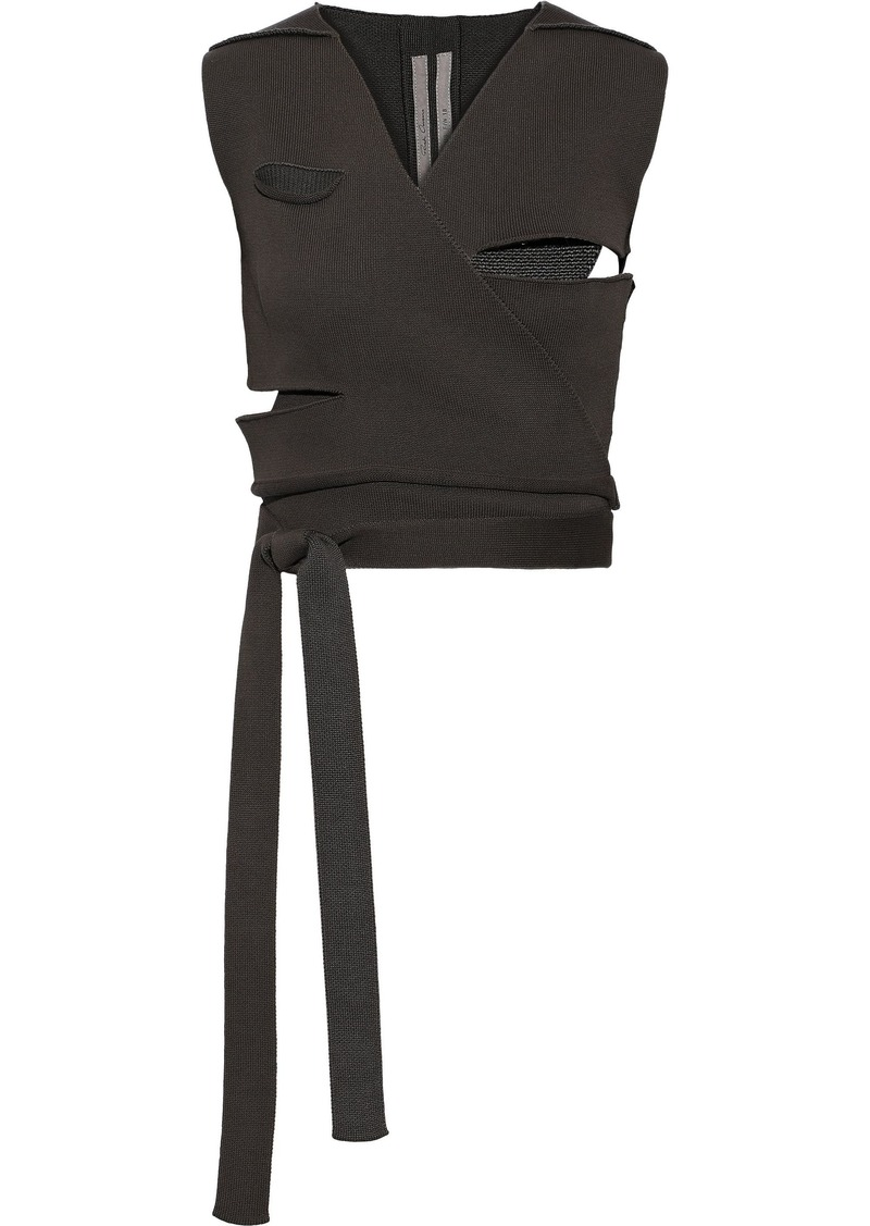 Rick Owens Woman Cutout Cotton-blend Wrap Vest Gray
