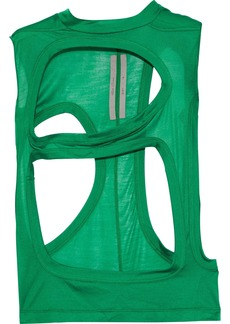 Rick Owens Woman Cutout Silk-jersey Top Green