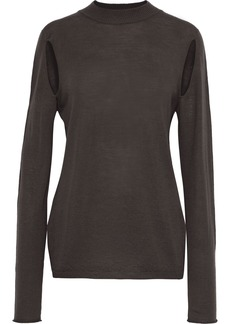 Rick Owens Woman Cutout Wool Top Dark Gray