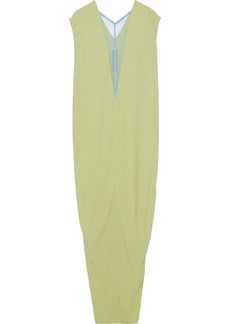 Rick Owens Woman Dagger Tulle-trimmed Crepe Maxi Dress Leaf Green