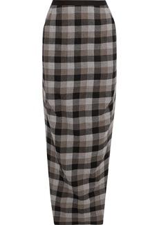 Rick Owens Woman Dirt Split-side Checked Wool-twill Maxi Skirt Black