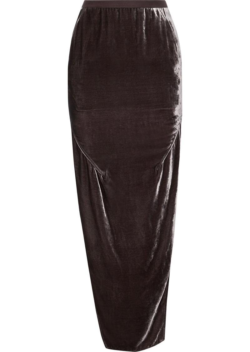 Rick Owens Woman Dirt Split-side Velvet Maxi Skirt Grape