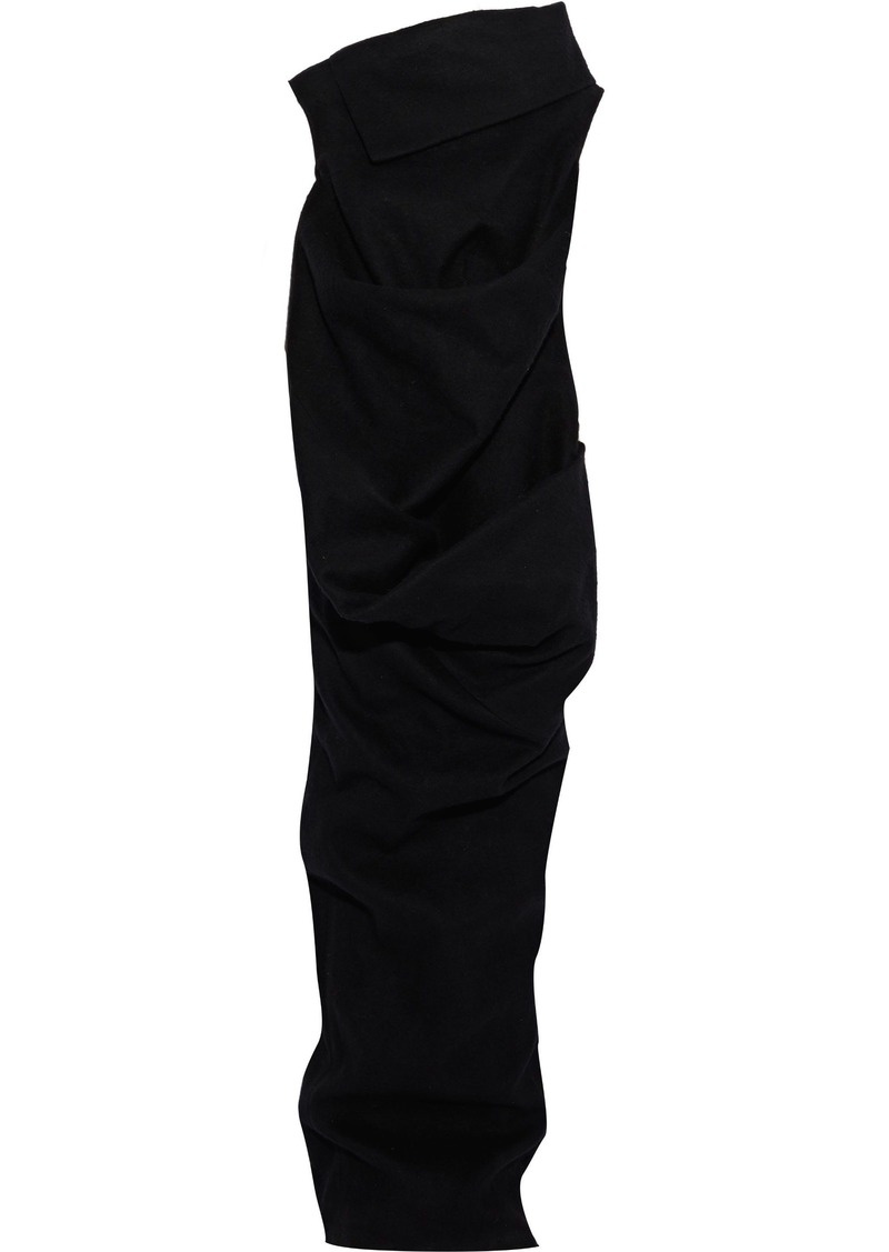 Rick Owens Woman Draped Brushed Cotton-blend Maxi Dress Black