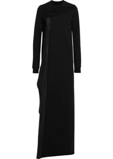 Rick Owens Woman Draped Cotton-jersey And Shell Maxi Dress Black