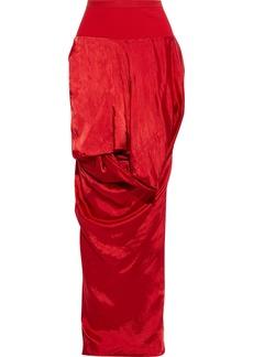Rick Owens Woman Draped Cupro-satin Maxi Skirt Red
