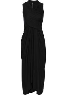Rick Owens Woman Draped Jersey Midi Dress Black