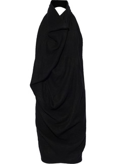 Rick Owens Woman Draped Linen And Camel Hair-blend Halterneck Tunic Black