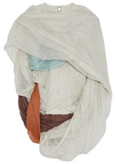 Rick Owens Woman Draped Open-knit Cotton-blend Top Light Gray