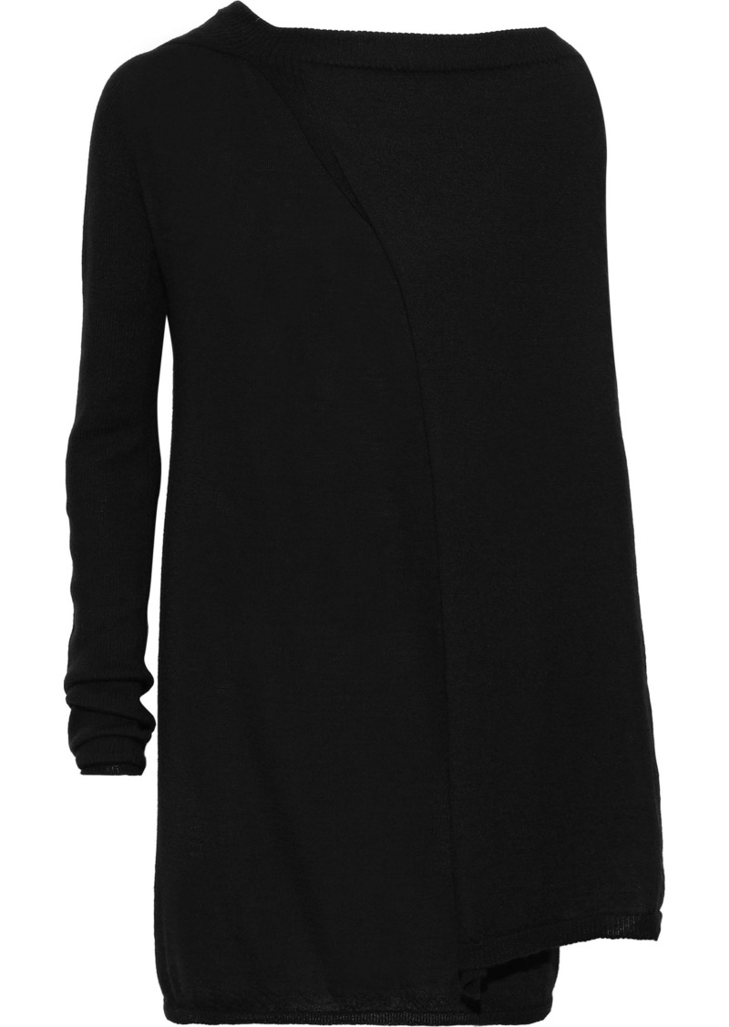 Rick Owens Woman Draped Ribbed Cashmere Top Black