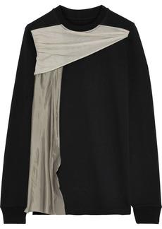 Rick Owens Woman Draped Sateen-paneled Cotton-jersey Top Black