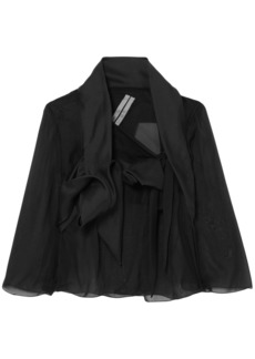 Rick Owens Woman Draped Silk-chiffon Tulle And Sateen Jacket Black
