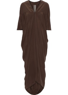 Rick Owens Woman Draped Silk Crepe De Chine Midi Dress Brown