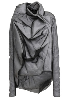 Rick Owens Woman Draped Silk-organza And Ribbed Jersey Jacket Anthracite