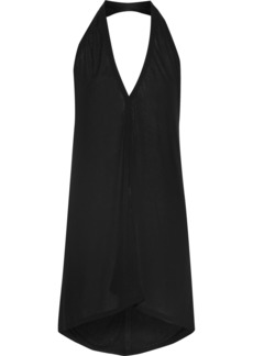 Rick Owens Woman Draped Stretch-jersey Halterneck Top Black