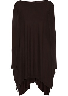 Rick Owens Woman Ribbed Knit-paneled Wool Top Chocolate