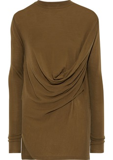 Rick Owens Woman Draped Wool Top Army Green