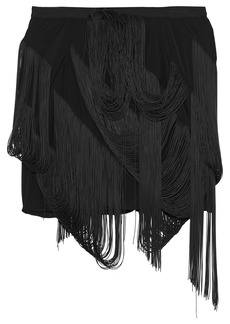 Rick Owens Woman Easy Fringed Rubber And Shell Shorts Black