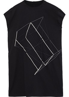 Rick Owens Woman Embroidered Cotton-jersey Top Black