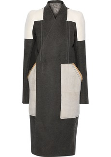 Rick Owens Woman Faux Suede-paneled Camel And Linen-blend Coat Anthracite
