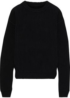 Rick Owens Woman Fisherman Ribbed Wool Sweater Black