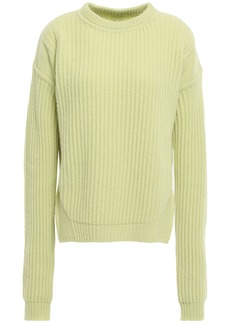 Rick Owens Woman Fisherman Ribbed Wool Sweater Lime Green