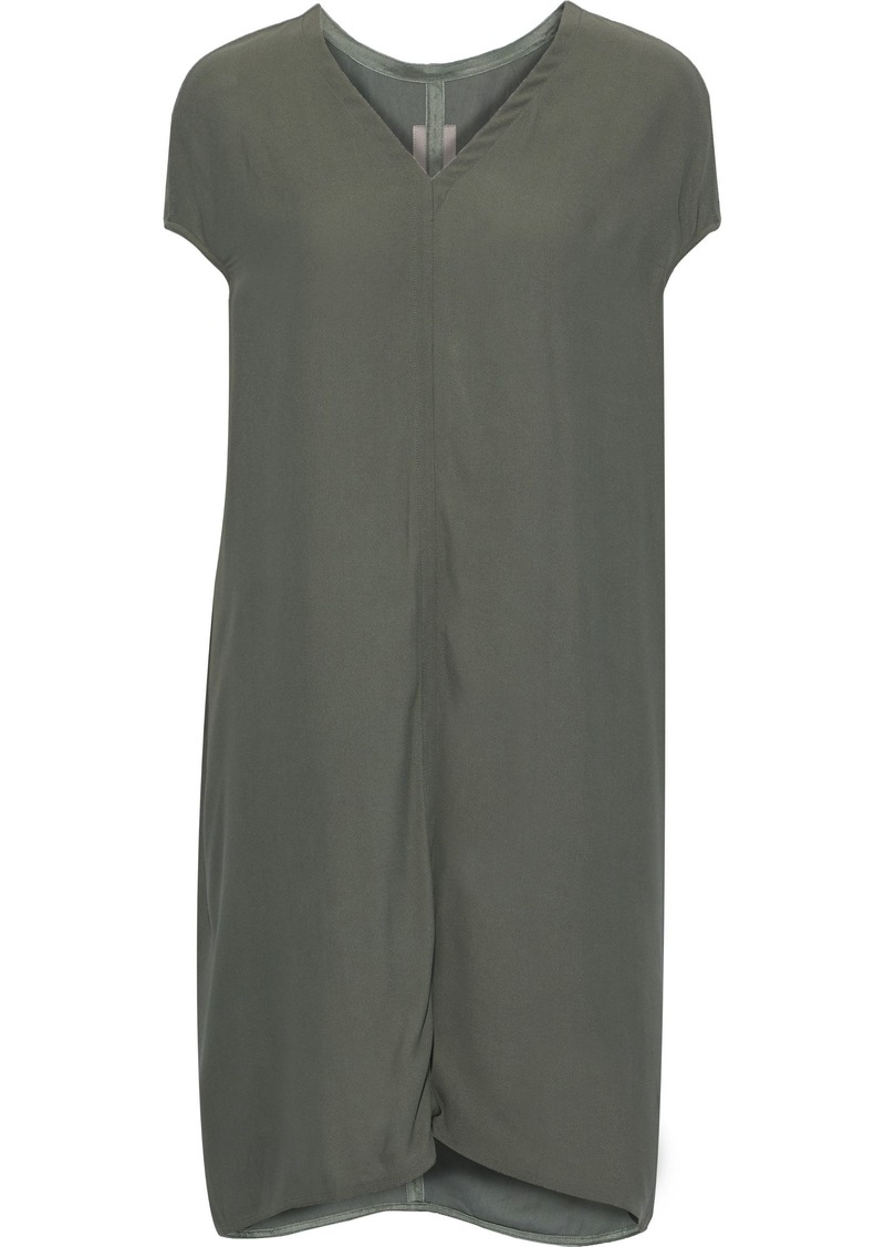Rick Owens Woman Floating Draped Crepe Dress Grey Green