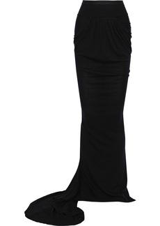 Rick Owens Woman Gathered Ribbed Knit-paneled Jersey Maxi Skirt Black