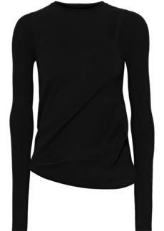 Rick Owens Woman Gathered Stretch And Ribbed-knit Sweater Black