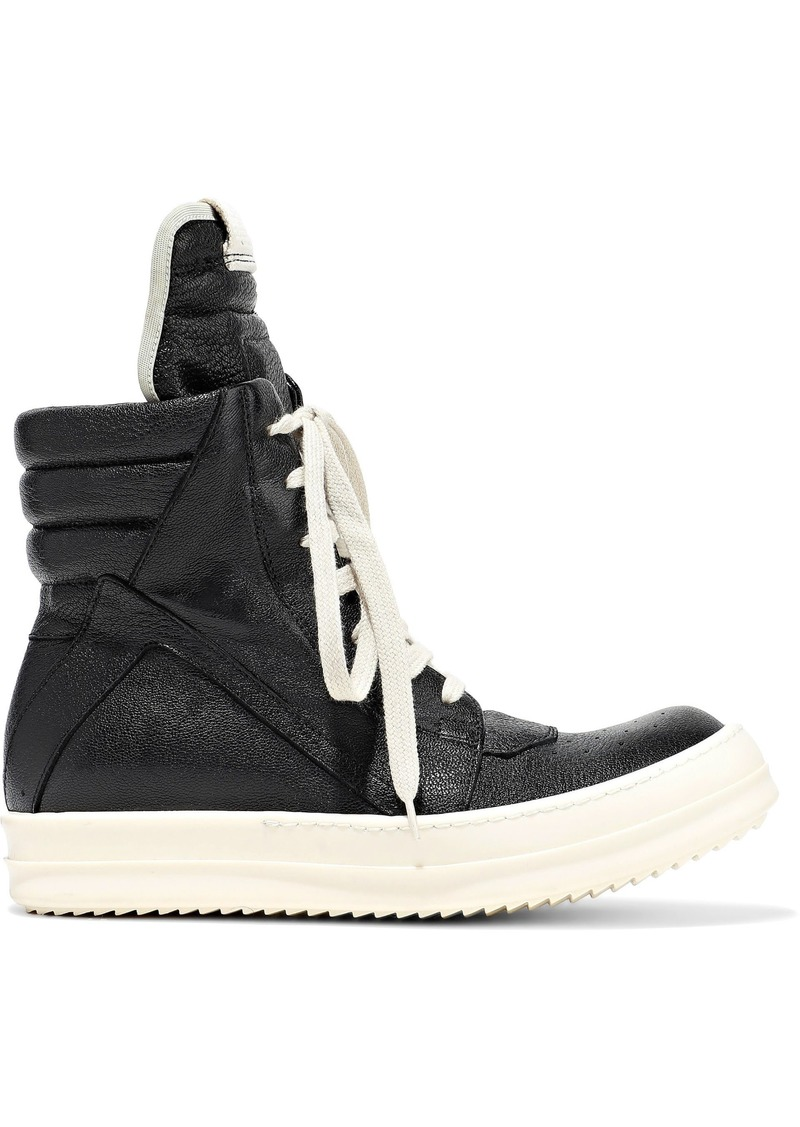 Rick Owens Woman Geobasket Quilted Textured-leather High-top Sneakers Black