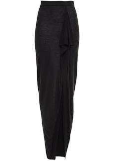 Rick Owens Woman Grace Draped Brushed Cashmere Maxi Skirt Black