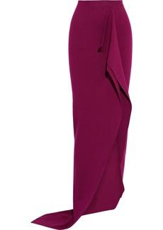 Rick Owens Woman Grace Split-front Draped Stretch-knit Maxi Skirt Fuchsia