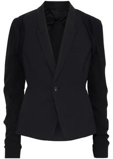 Rick Owens Woman Hustler Layered Cotton-jersey And Crepe-paneled Wool-blend Blazer Black