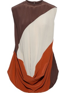 Rick Owens Woman Inhuman Draped Color-block Silk Crepe De Chine Blouse Brown