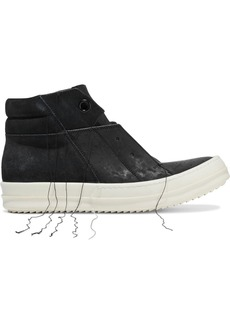Rick Owens Woman Island Dunk Frayed Suede And Leather High-top Sneakers Black