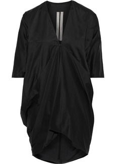 Rick Owens Woman Kite Gathered Cotton And Silk-blend Tunic Black