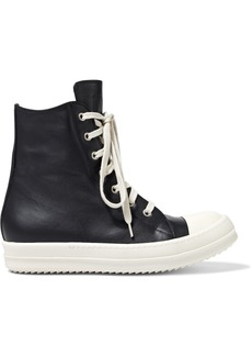 Rick Owens Woman Lace-up Leather High-top Sneakers Black