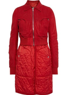 Rick Owens Woman Layered Distressed Leather And Quilted Shell Coat Red