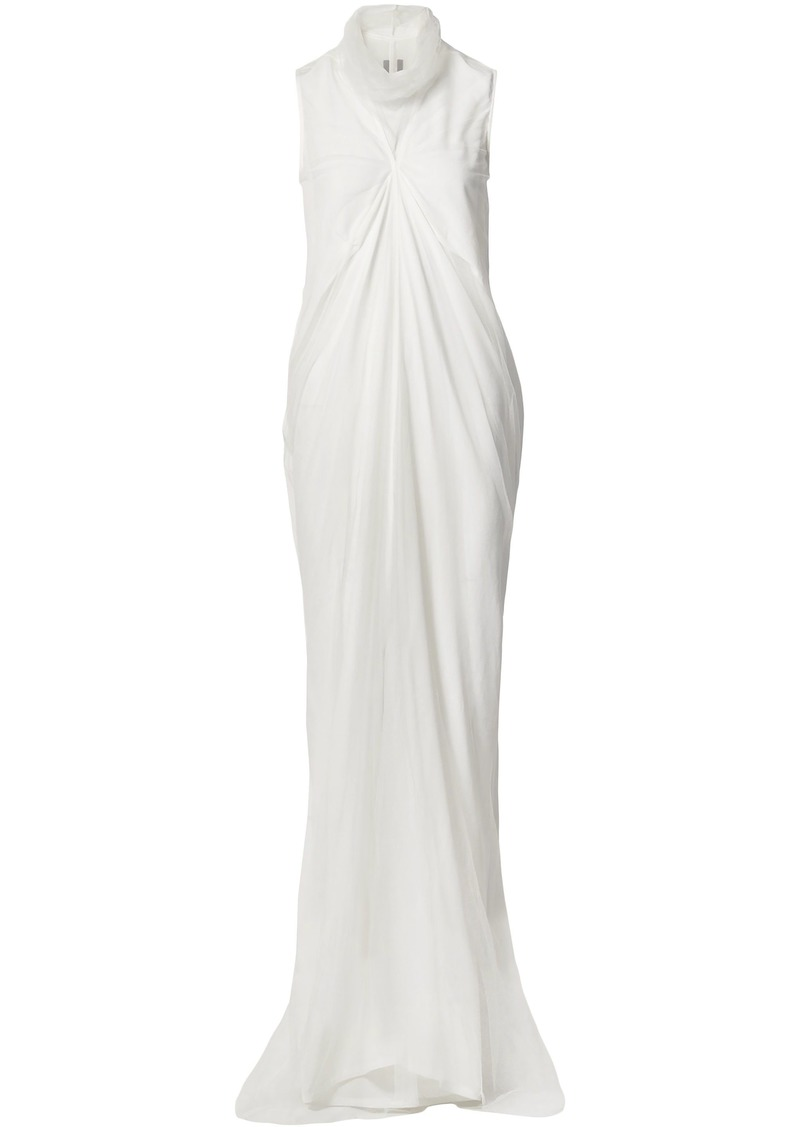 Rick Owens Woman Layered Silk Crepe De Chine And Tulle Gown Off-white