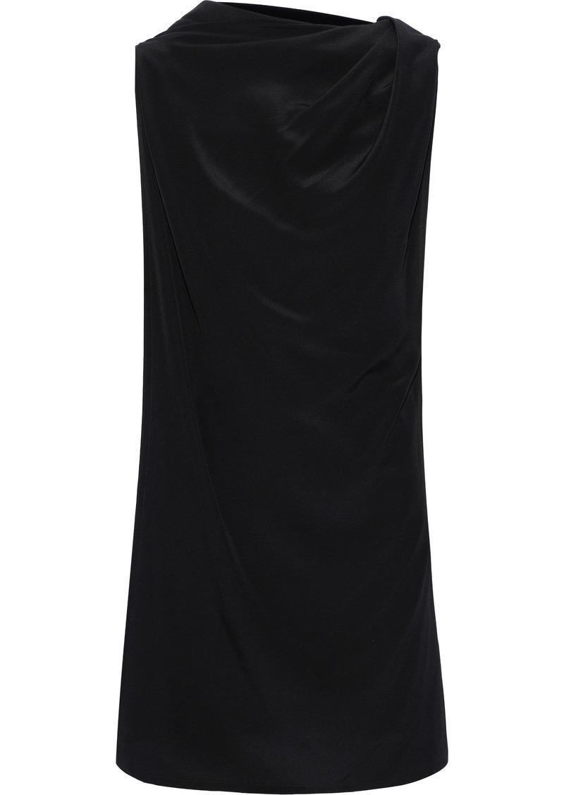 Rick Owens Woman Layered Silk Crepe De Chine Tunic Black