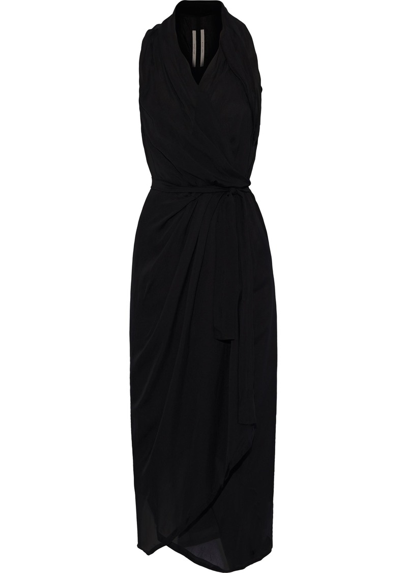 Rick Owens Woman Limo Silk-voile Midi Wrap Dress Black