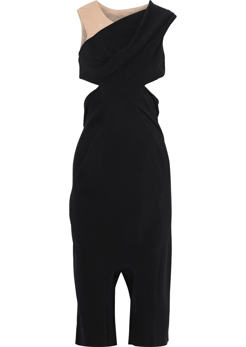 Rick Owens Woman Maria Carla Cropped Tulle-paneled Cutout Cady Jumpsuit Black