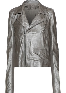 Rick Owens Woman Metallic Brushed-leather Biker Jacket Stone
