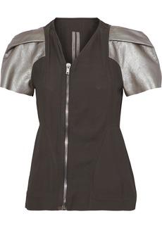 Rick Owens Woman Metallic Leather-paneled Crepe Jacket Army Green