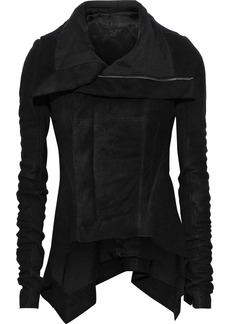 Rick Owens Woman Naska Ribbed Knit-paneled Coated Leather Biker Jacket Black