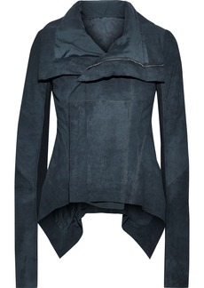 Rick Owens Woman Naska Ribbed Knit-paneled Coated Leather Biker Jacket Storm Blue