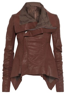 Rick Owens Woman Naska Knit-paneled Coated Linen-blend Twill Biker Jacket Brown