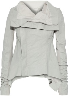 Rick Owens Woman Naska Knit-paneled Coated Linen-blend Twill Biker Jacket Light Gray