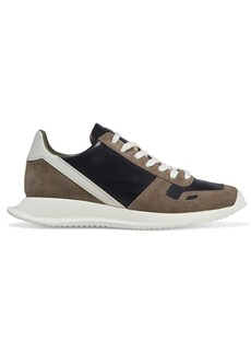 Rick Owens Woman New Vintage Runner Suede Smooth And Textured-leather Sneakers Mushroom
