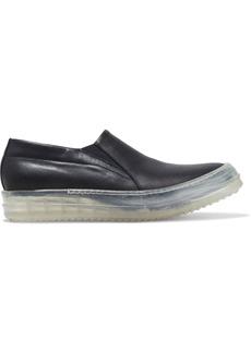 Rick Owens Woman No Cap Leather Slip-on Sneakers Black